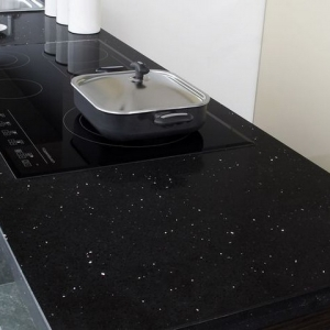 black quartz worktops