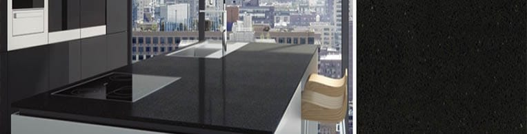 black noir quartz sample for worktops